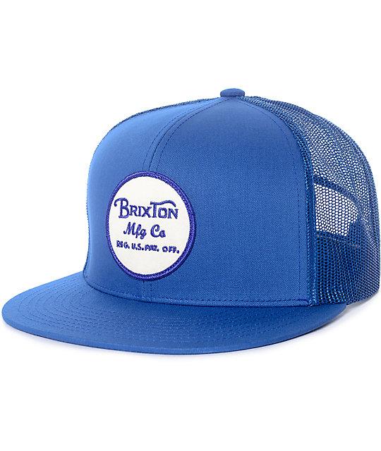 2d55d85046c2e Brixton Wheeler Blue   White Mesh Snapback Hat