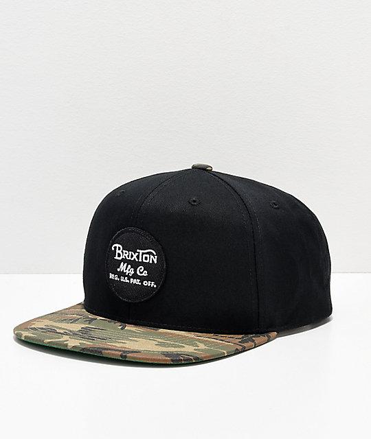 d998c356f9c Brixton Wheeler Camo   Black Snapback Hat