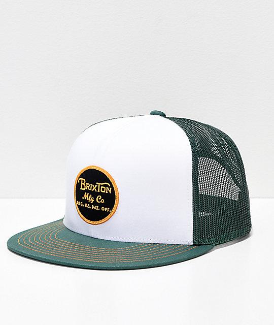 00ba35a0 Brixton Wheeler Chive Green Mesh Snapback Hat