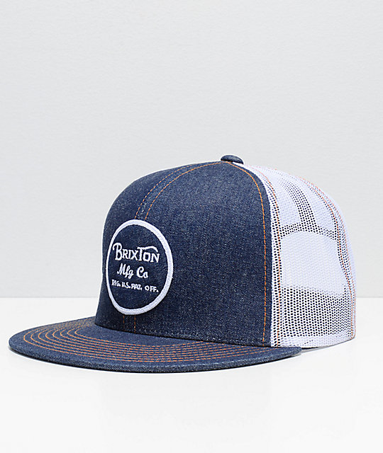 Brixton Wheeler Denim & White Mesh Trucker Snapback Hat