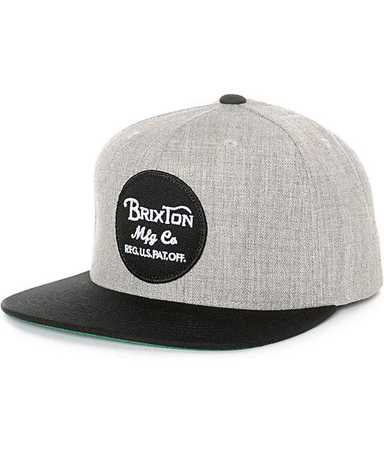 d8a355f496152 Brixton Wheeler Light Grey   Black Snapback Hat