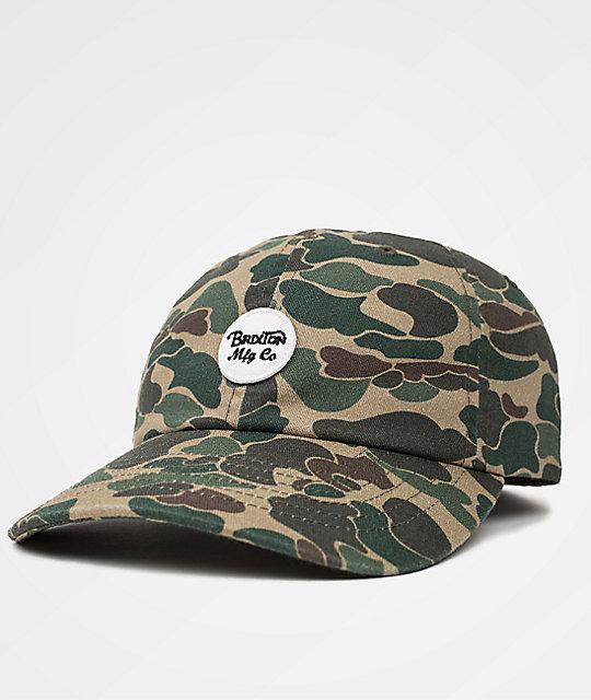 Brixton Wheeler Olive Camo Strapback Hat  aabfd28ea93