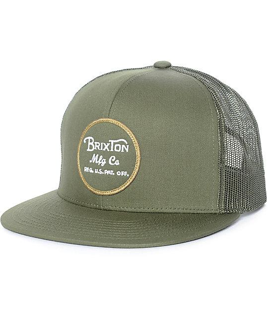 795ed7c1d5636 Brixton Wheeler Olive Trucker Hat