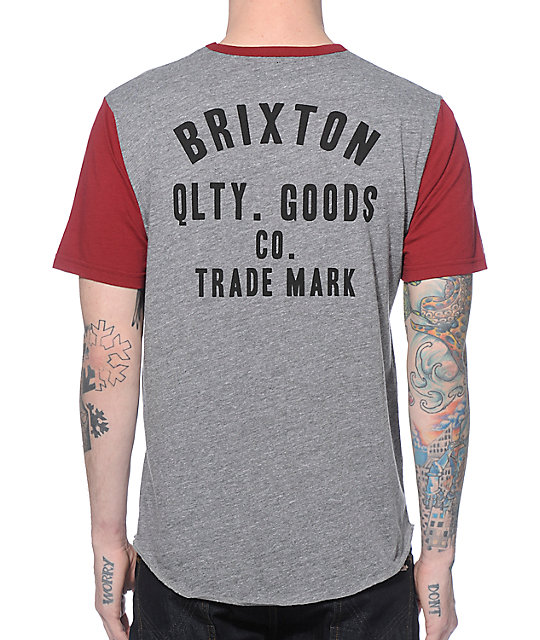 a0fe95471067 Brixton Woodburn Grey and Burgundy 2 Tone T-Shirt