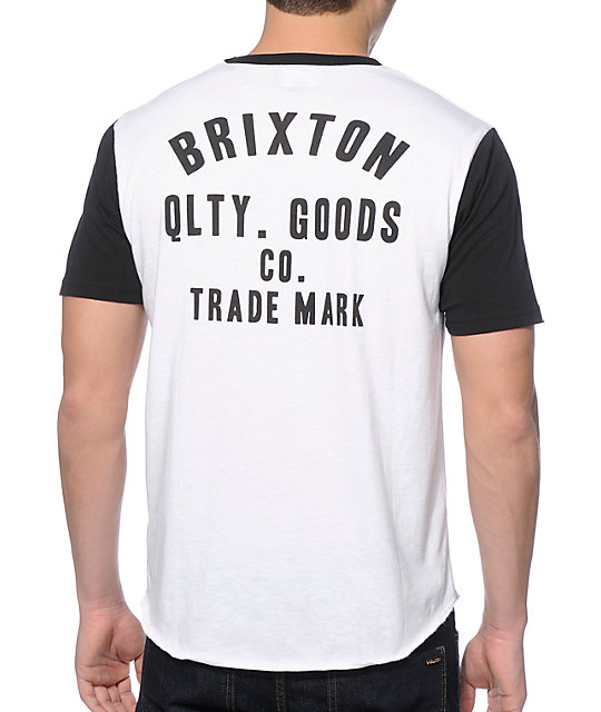 5151a4a58b77 Brixton Woodburn White and Black 2 Tone T-Shirt