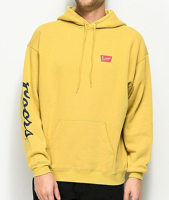 brixton x coors banquet buff yellow fleece hoodie zumiez