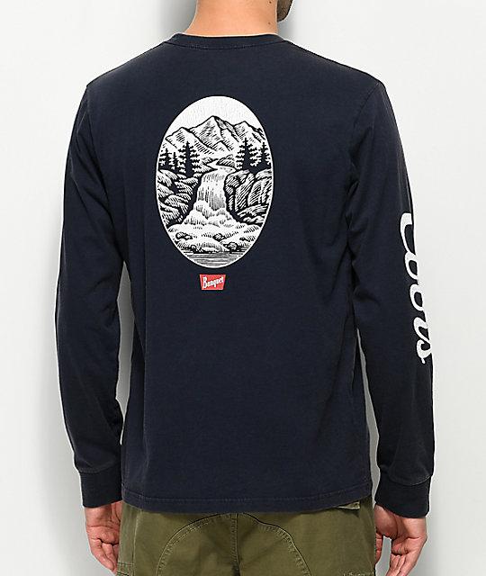 Brixton x Coors Banquet Filtered Navy Long Sleeve T-Shirt  0da7471ebb9