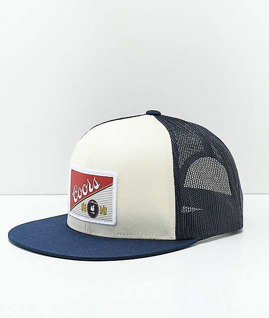 Brixton x Coors Heritage White   Navy Mesh Snapback Hat  1b7512998af