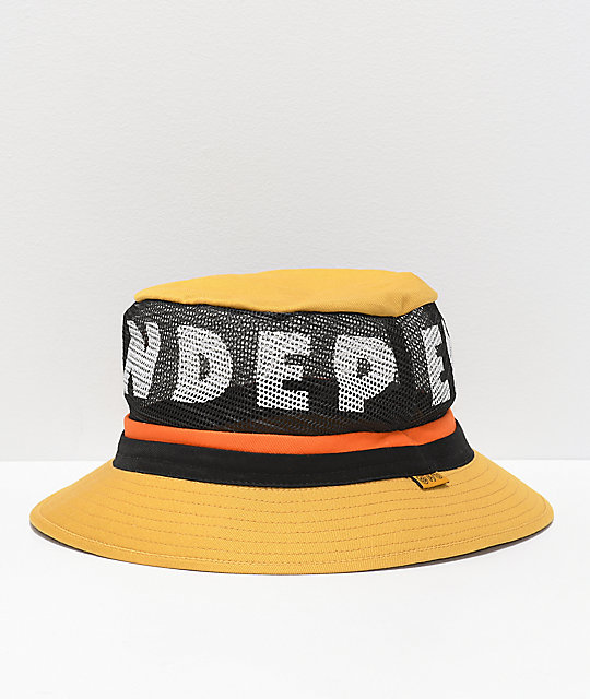 Brixton x Independent Hardy Yellow Bucket Hat  e276ce0aded