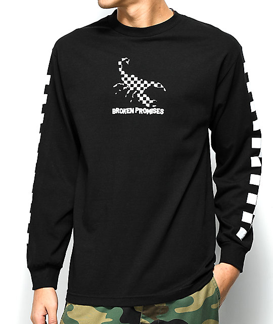 Broken Promises Checkered Scorpion Black Long Sleeve T-Shirt ...