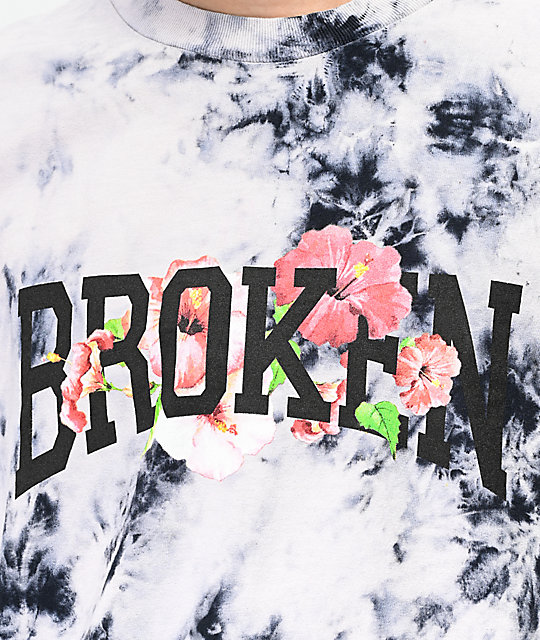 Broken Promises Drop In camiseta tie dye negra y blanca