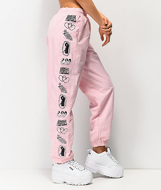 Broken Promises Fake Fairytale Pink Crinkle Track Pants