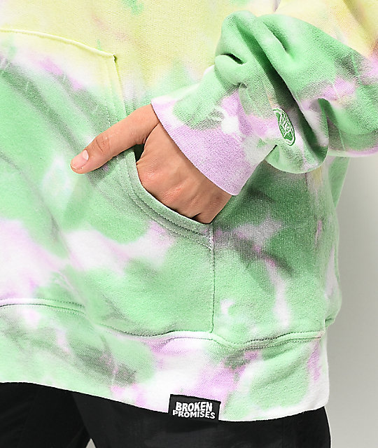 Broken Promises Green, Pink & Yellow Tie Dye Hoodie