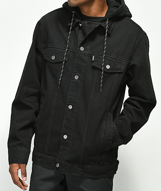 purchase authentic shades of big selection of 2019 Broken Promises Midnight Black Hooded Denim Jacket