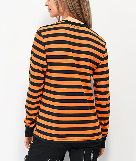 Broken Promises Ruthless Black & Orange Stripe Knit Long Sleeve T-Shirt