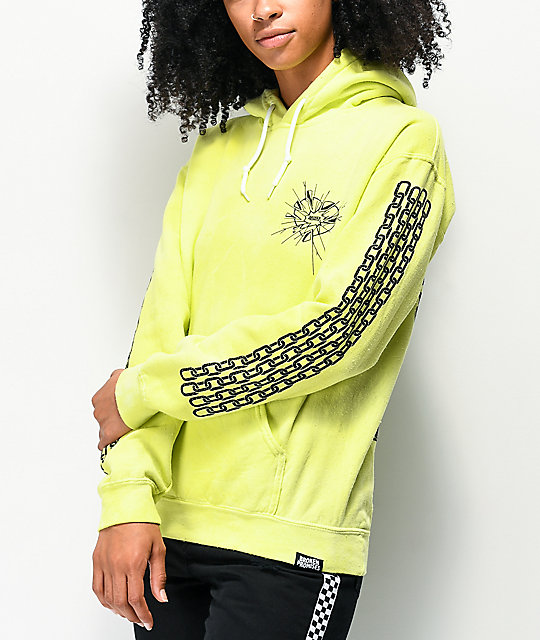 Broken Promises Shattered Neon Yellow Wash Hoodie