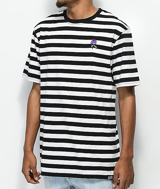 Broken Promises Thornless Black & White Striped T-Shirt
