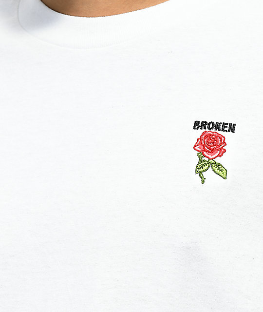 Broken Promises Thornless Red Rose Embroidered White T-Shirt