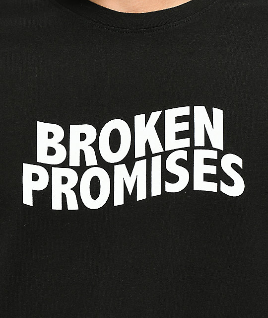 Broken Promises Wave Logo Black Tie Dye Long Sleeve T-Shirt