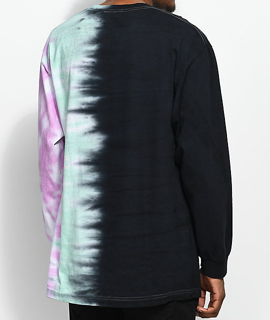 Broken Promises Wave Logo Tie Dye & Black Long Sleeve T-Shirt