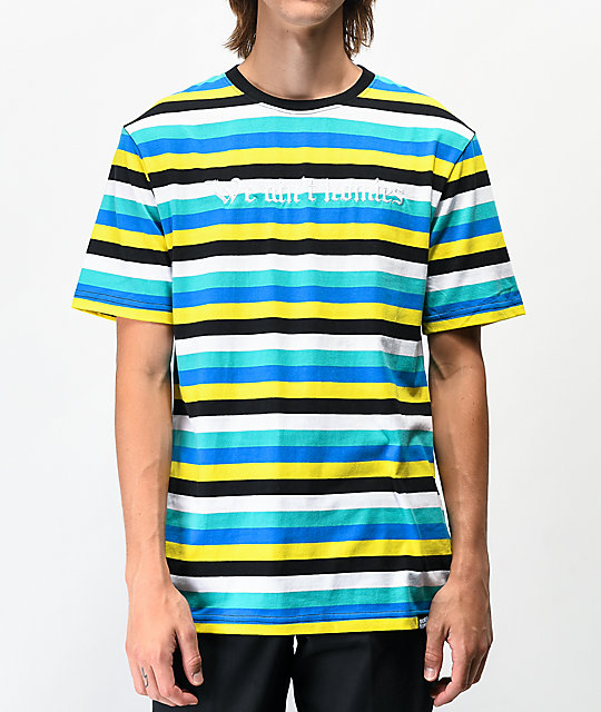 Broken Promises We Aint Homies Yellow & Teal Striped Knit T-Shirt