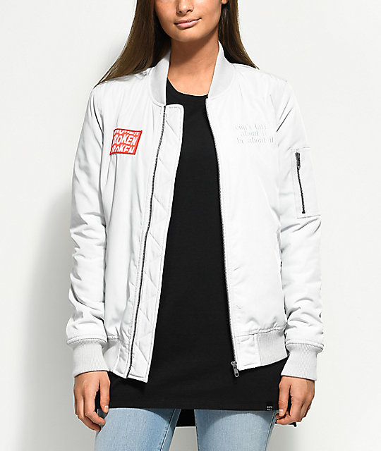 Broken Promises You Lied To Me Grey Bomber Jacket