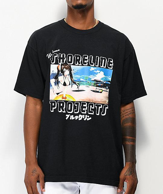 Brooklyn Projects X Shoreline Mafia Postcard Black T Shirt by Brooklyn Projects