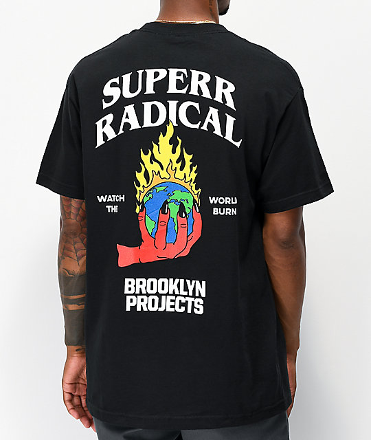 Brooklyn Projects X Superrradical Burn Black T Shirt by Brooklyn Projects