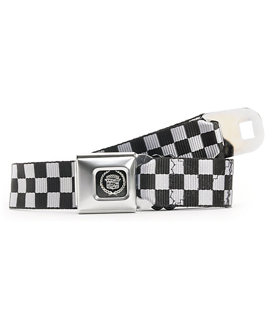 Buckle Down Cadillac Black & White Check Seatbelt Belt