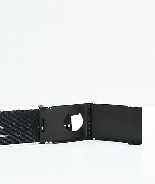 Buckle Down Kanji Black Web Belt