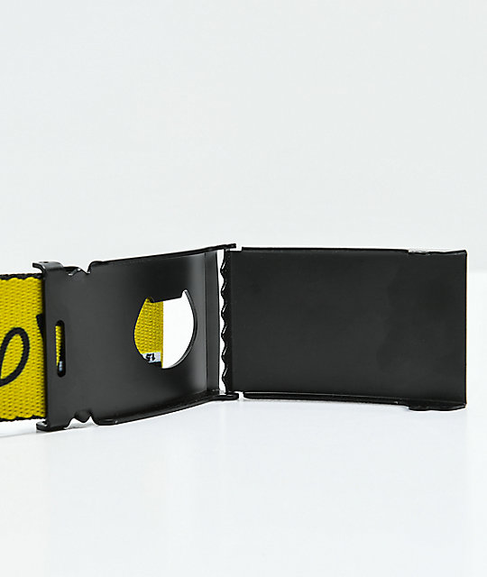 Buckle Down Kanji Yellow & Black Web Belt