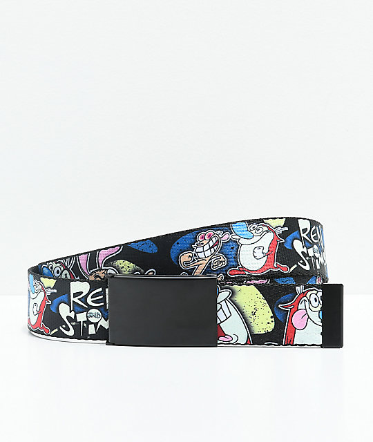Buckle Down Ren & Stimpy Black Web Belt