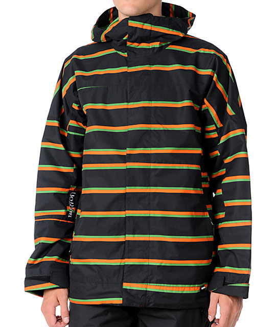 Burton Launch Black Striped 10K Mens Snowboard Jacket