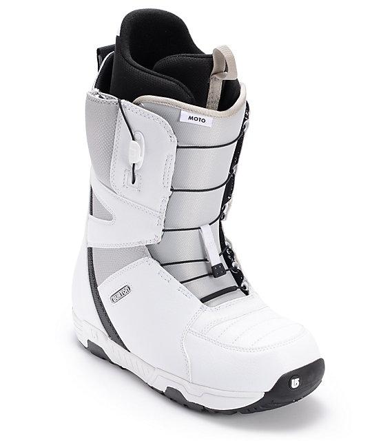 Burton Moto White, Grey & Black Snowboard Boots