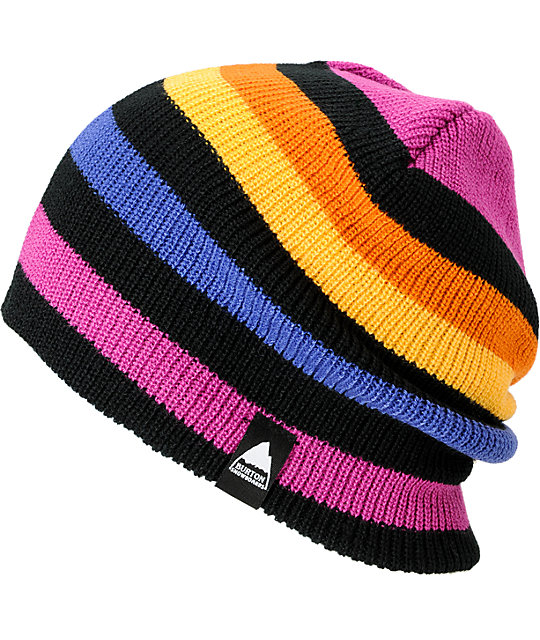 Burton Serviced Stripe Black, Purple & Orange Beanie