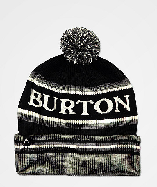 Burton Trope True Black, Grey & White Pom Beanie