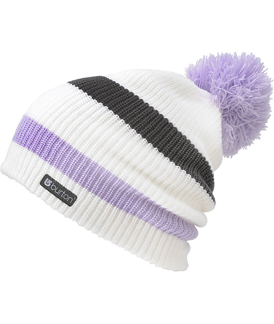 Burton Whats Your 20 White Stripe Pom Beanie