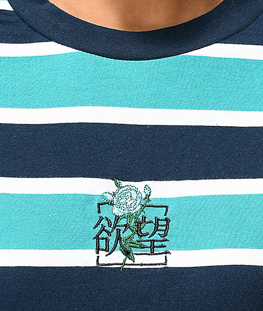 By Samii Ryan Kanji Blossom Blue Stripe Long Sleeve T-Shirt