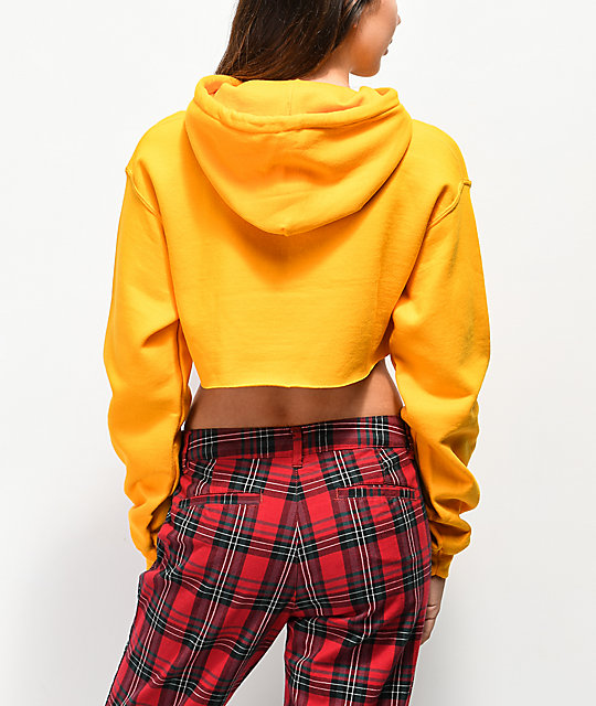 By Samii Ryan Never Yours Yellow Crop Hoodie