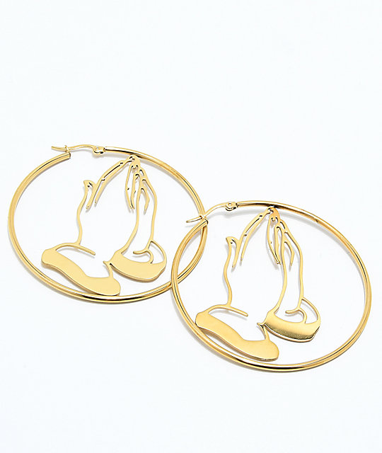 By Samii Ryan Pray For You Gold Hoop Earrings