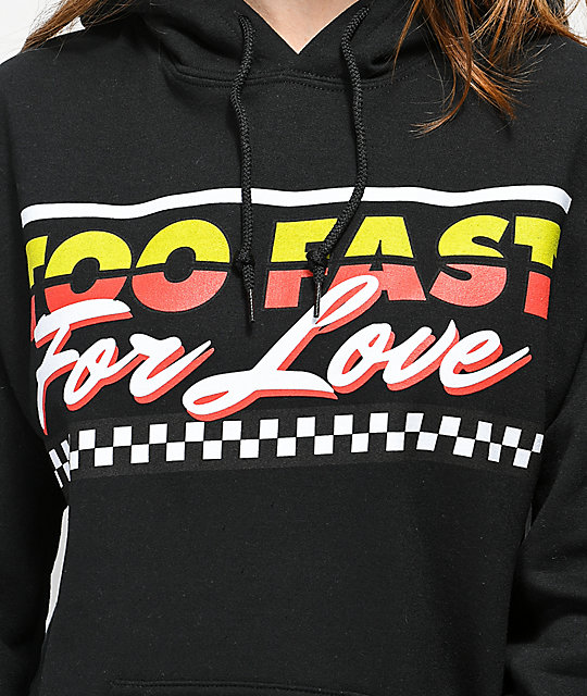 By Samii Ryan Too Fast For Love sudadera negra con capucha