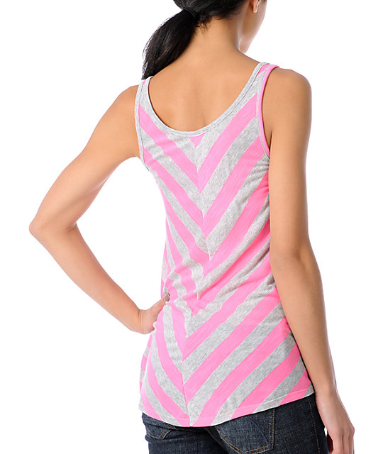 CDC Apparel Bama Pink & Grey Striped Tank Top