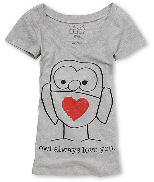 CDC Apparel Owl Always Love You Grey Graphic T-Shirt