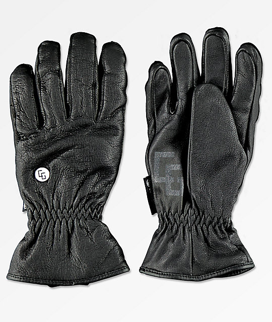 CG Habitats Game Changer Black Leather Snowboard Gloves