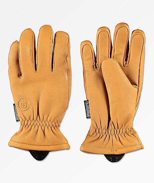 3ca159c06413b8 CG Habitats Game Changer Brown Leather Snowboard Gloves   Zumiez