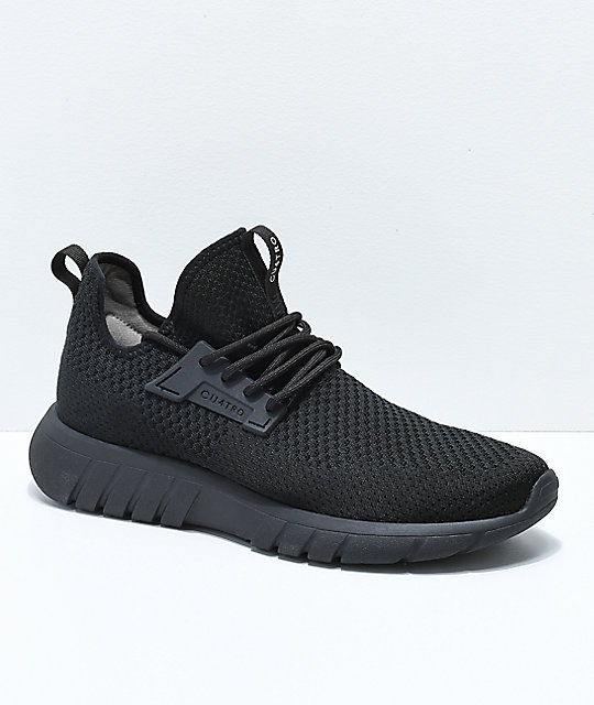 CU4TRO Bolt All Black Knit Shoes