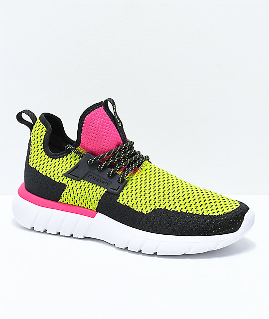 CU4TRO Bolt Lima & Magenta Knit Shoes