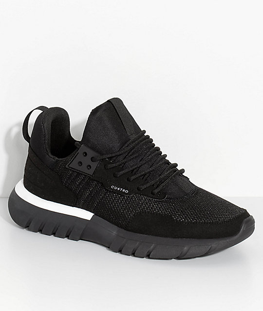 CU4TRO Striker Black Knit Shoes