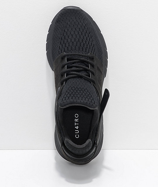 CU4TRO Stunner All Black Knit Shoes