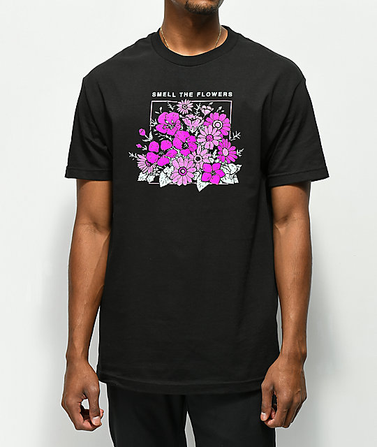 Cake Face PNW Smell Flowers Black T-Shirt